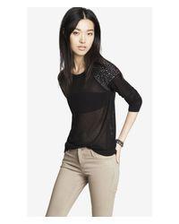 Express - Black Rhinestud Embellished Open Mesh Sweater - Lyst