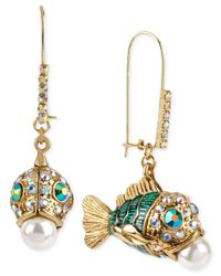 Betsey Johnson | Multicolor Gold-Tone Embellished Fish Earrings | Lyst