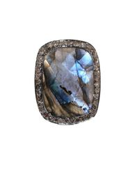 Adornia | Gray Gemstone And Champagne Diamond Charles Ring | Lyst