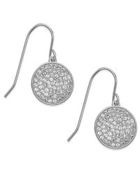 Swarovski - White Rhodium-Plated Disc Clear Crystal Pave Drop Earrings - Lyst