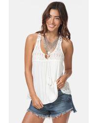 Rip Curl | White 'stay True' Lace Trim Racerback Tank | Lyst