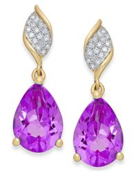 Macy's | Purple Amethyst (3-1/8 Ct. T.w.) And Diamond (1/10 Ct. T.w.) Drop Earrings In 10k Gold | Lyst