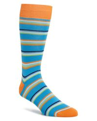 Bugatchi - Blue Stripe Cotton Blend Socks for Men - Lyst