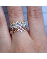 Anne Sisteron - Pink 14kt Rose Gold Black Diamond Zig Zag Stacking Ring - Lyst