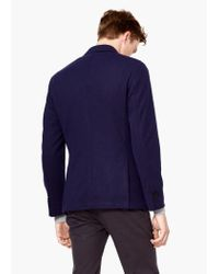 Mango - Blue Textured Unstructured Blazer for Men - Lyst