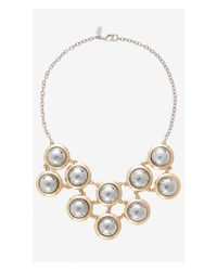 Express - Metallic Gold And Silver Bib Necklace - Lyst