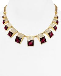 "ABS By Allen Schwartz | Red Frontal Pavé Statement Necklace, 19""L 
