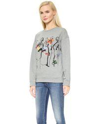 N°21 - Gray Sweatshirt With Sketch - Grey - Lyst