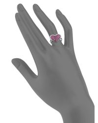 Effy - Metallic Final Call Ruby, Diamond & 14k White Gold Heart Ring - Lyst