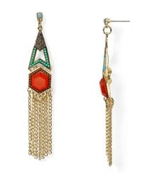 Aqua - Metallic Kelly Fringe Chandelier Earrings - Lyst