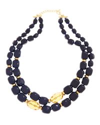 Brooks Brothers | Blue Stone Two Row Necklace | Lyst