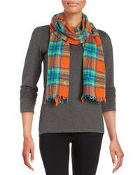 Polo Ralph Lauren | Orange Plaid Wool Scarf | Lyst