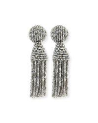 Oscar de la Renta   Metallic Short Tassel Earrings   Lyst