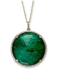 Macy's | 14k Gold Necklace, Dyed Green Corundum Sapphire (22-1/2 Ct. T.w.) And Diamond (1/3 Ct. T.w) Circle Pendant | Lyst
