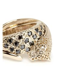 Iosselliani | Metallic Crystal Pavé Cheetah Head Ring | Lyst