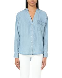 Closed | Blue V-neck Chambray Shirt | Lyst