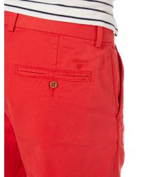 GANT - Red Cotton Shorts for Men - Lyst