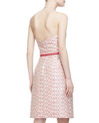 Carmen Marc Valvo - Red Abstract-Print Crepe Dress - Lyst