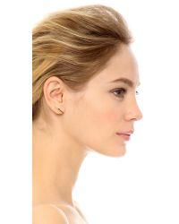 Mirlo - Metallic Diamond Bar Earrings - Gold/Clear - Lyst