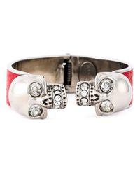Alexander McQueen | Red Double Skull Bracelet | Lyst