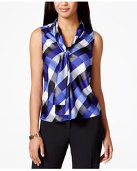 Nine West | Multicolor Tie-neck Diamond-print Blouse | Lyst