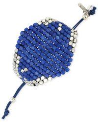 Kenneth Cole   Blue Silver-tone Mixed Bead Adjustable Friendship Bracelet   Lyst
