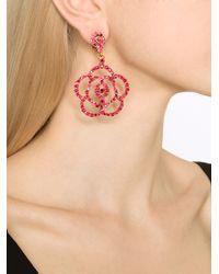 Oscar de la Renta | Red Pave Flower Clip Earring | Lyst