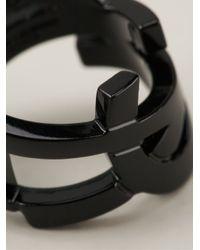 Saint Laurent - Black Monogram Ring - Lyst