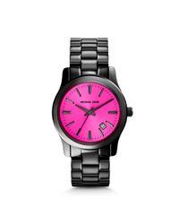 Michael Kors - Pink Runway Fuschia And Onyx Watch - Lyst