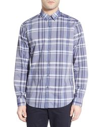 Theory - Purple 'zack Ps' Slim Fit Plaid Sport Shirt for Men - Lyst