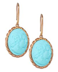 Amedeo - Blue Lady Profile Turquoise Cameo Earrings - Lyst