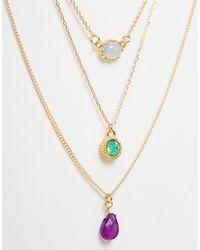 ASOS - Metallic Multirow Mix Stone Necklace - Lyst