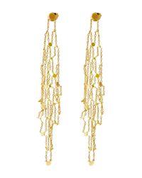 Sia Taylor - Metallic Gold Grid Drop Earrings - Lyst