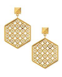 Tory Burch | Metallic Golden Perforated Logo Hexagon Drop Earrings | Lyst