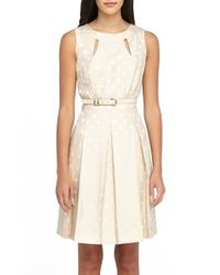 Tahari   Multicolor Shantung Jacquard Pleated Fit & Flare Dress   Lyst