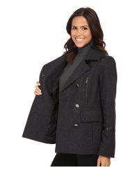 MICHAEL Michael Kors | Gray Wool Peacoat W/ Faux Leather | Lyst