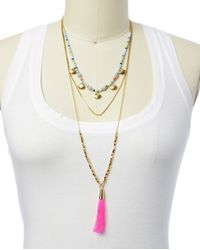 Juicy Couture | Pink Triple Layer Necklace With Tassel | Lyst