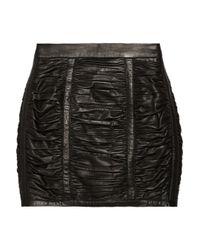 Balmain | Black Ruched Leather Mini Skirt | Lyst