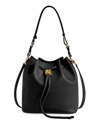 Ferragamo | Black 'sansy' Leather Bucket Bag | Lyst
