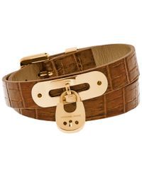 Michael Kors | Brown Leather Padlock Bracelet | Lyst