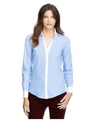 Brooks Brothers - Blue Non-iron Fitted Bold Stripe Dress Shirt - Lyst