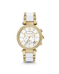 Michael Kors - Metallic Parker Pavé Gold-tone Acetate Watch - Lyst