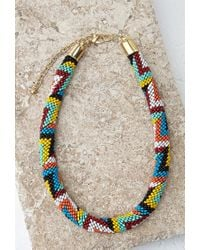 Forever 21 - Multicolor Beaded Rope Collar Necklace - Lyst