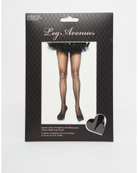 Leg Avenue - Black Tights with Rhinestone Detail - Lyst