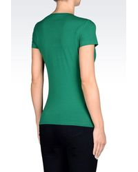 Armani Jeans - Green T-Shirt In Stretch Cotton Jersey With Logo Print - Lyst