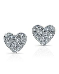 Anne Sisteron | Metallic 14kt White Gold Diamond Heart Stud Earrings | Lyst