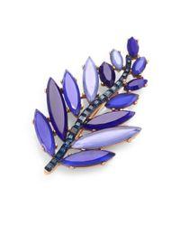 Oscar de la Renta | Blue Swarovski Crystal Leaf Brooch | Lyst