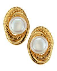 Majorica - Metallic Rope Knot Pearl Stud Earrings - Lyst