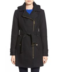 MICHAEL Michael Kors | Black Belted Wool Blend Coat With Detachable Hood | Lyst