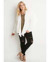 Forever 21 - White Draped Open-front Cardigan - Lyst